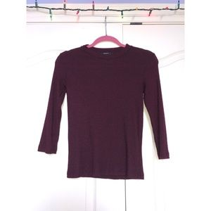 Forever 21 Maroon Ribbed Fitted Sweater
